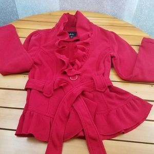 Dots Cherry Red Belted Jacket Size:8